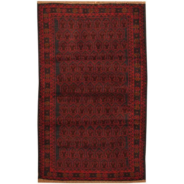 Handmade Herat Oriental Afghan Tribal Balouchi Wool Area Rug (Afghanistan) - 2'10 x 4'8