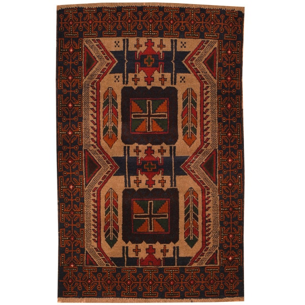 Handmade Herat Oriental Afghan Tribal Balouchi Wool Area Rug (Afghanistan) - 3' x 4'8