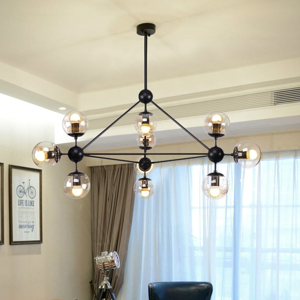 Warehouse of Tiffany Almiana Black Metal Glass Shades 10-light 3-point Cluster Pendant
