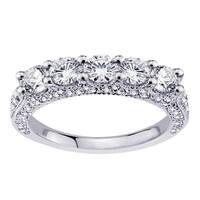 14k Gold 1 4/5 CT 5-Stone Diamond Encrusted Wedding Band