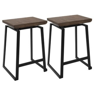 Link to Carbon Loft Richard Metal and Wood Industrial Counter Stools (Set of 2) Similar Items in Dining Room & Bar Furniture