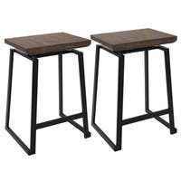 Carbon Loft Richard Industrial Metal and Wood Counter Stool (Set of 2)
