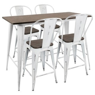 Oregon 5 Piece Industrial Counter Set in Vintage White and Espresso