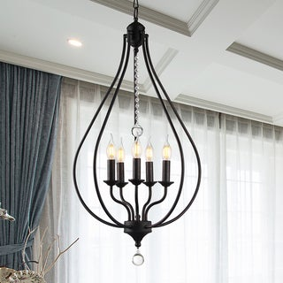 Link to Amriana 5-Light 18-Inch Antique Bronze Cage Pendant Similar Items in Chandeliers