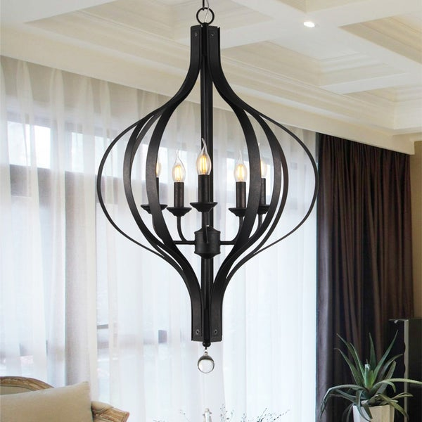 Anzola 5-Light 22-Inch Antique Bronze Modern Pendant