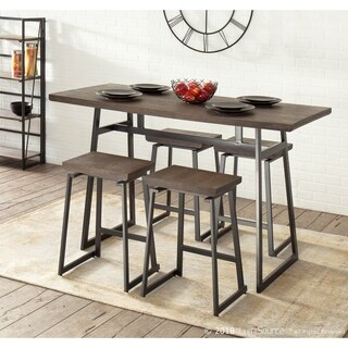 Geo 5 Piece Industrial Counter Set in Metal and Wood