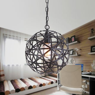 Lindrac 1-Light 12-Inch Black Globe Pendant