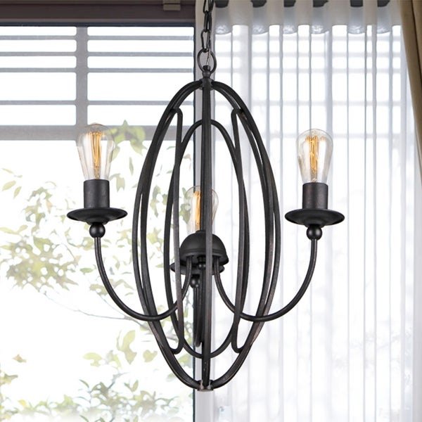 Santona 3-Light 18-Inch Black Chandelier