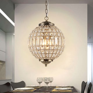 Gaskara 3-light 9-inch Crystal Antique Gold Globe Pendant