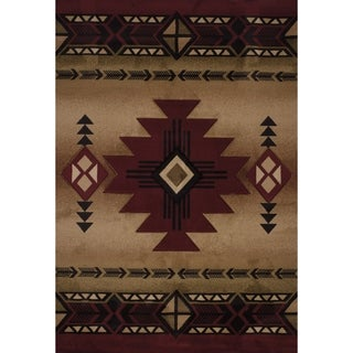 Westfield Home Sculptures Claiabelle Burgundy Olefin Hand-carved Area Rug (7'10x10'6)