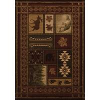 Westfield Home Sculptures Lodge Toffee Hand Carved Area Rug - 7'10 x 10'6