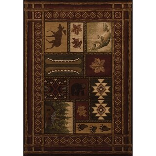 Westfield Home Sculptures Toffee Olefin Hand-carved Lodge Area Rug (7'10x10'6)