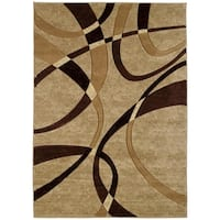 """Westfield Home Sculptures Indira Chocolate Hand Carved Accent Rug - 2'6"""" x 4'2"""""""