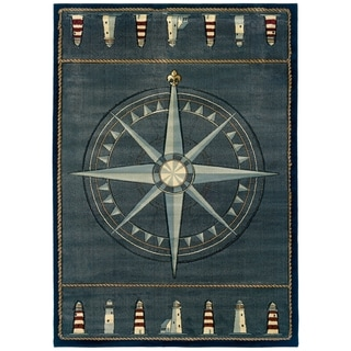 Westfield Home Sculptures Lydia Smoke Blue Hand Carved Area Rug - 7'10 x 10'6