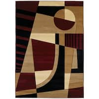 """Westfield Home Sculptures Aileen Burgundy Hand Carved Accent Rug - 2'6"""" x 4'2"""""""