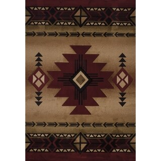 "Westfield Home Sculptures Claiabelle Burgundy Hand Carved Accent Rug - 2'6"" x 4'2"""