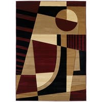 """Westfield Home Sculptures Aileen Burgundy Hand Carved Accent Rug - 1'10"""" x 2'6"""""""