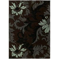 """Westfield Home Sculptures Imogene Smoke Blue Hand Carved Accent Rug - 2'6"""" x 4'2"""""""