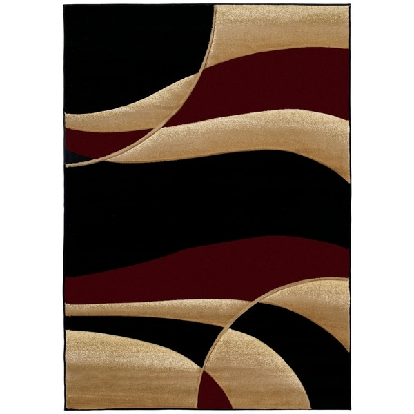 "Westfield Home Sculptures Iris Burgundy Hand Carved Accent Rug - 1'10"" x 2'6"""