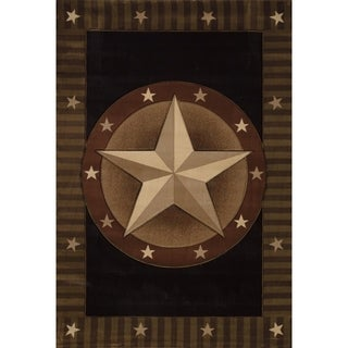 Westfield Home Sculptures Western Star Onyx Black/ Brown/ Gold Olefin Hand-carved Runner Rug (2'7 x 7'3)