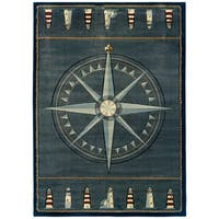 """Westfield Home Sculptures Lydia Smoke Blue Hand Carved Accent Rug - 2'6"""" x 4'2"""""""