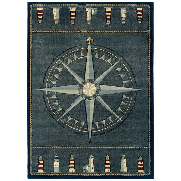 "Westfield Home Sculptures Lydia Smoke Blue Hand Carved Accent Rug - 2'6"" x 4'2"""