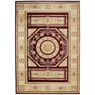 """Westfield Home Sculptures Lupita Burgundy Hand Carved Accent Rug - 1'10"""" x 2'6"""""""