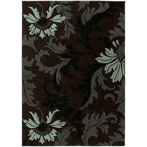 """Westfield Home Sculptures Imogene Smoke Blue Hand Carved Accent Rug - 1'10"""" x 2'6"""""""