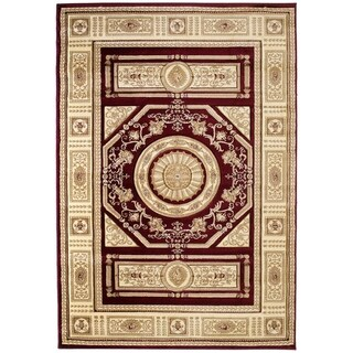 "Westfield Home Sculptures Lupita Burgundy Hand Carved Accent Rug - 2'6"" x 4'2"""