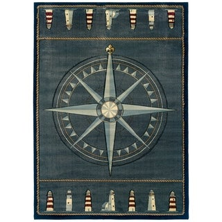 "Westfield Home Sculptures Lydia Smoke Blue Hand Carved Accent Rug - 1'10"" x 2'6"""