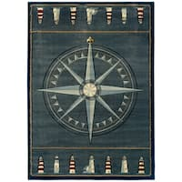 """Westfield Home Sculptures Lydia Smoke Blue Hand Carved Accent Rug - 1'10"""" x 2'6"""""""