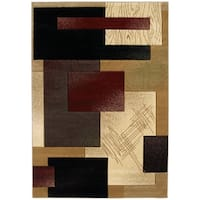 """Westfield Home Sculptures Aimee Burgundy Hand Carved Accent Rug - 1'10"""" x 2'6"""""""