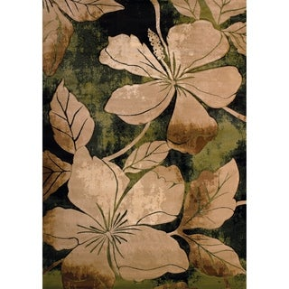 Westfield Home Sculptures Eimear Green Hand Carved Runner Rug (2'7 x 7'3)