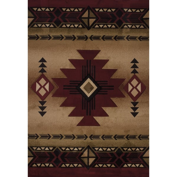 "Westfield Home Sculptures Claiabelle Burgundy Hand Carved Accent Rug - 1'10"" x 2'6"""