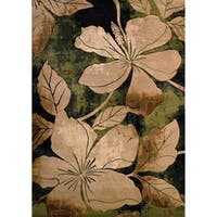 """Westfield Home Sculptures Eimear Green Hand Carved Accent Rug - 2'6"""" x 4'2"""""""