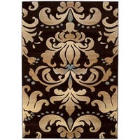 """Westfield Home Sculptures Alejendra Smoke Blue Hand Carved Accent Rug - 1'10"""" x 2'6"""""""