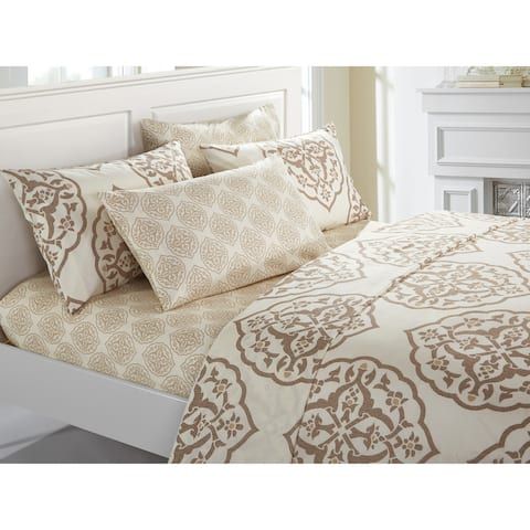 Chic Home VAL 6-Piece Bed Sheet Set Two-Toned Medallion Print