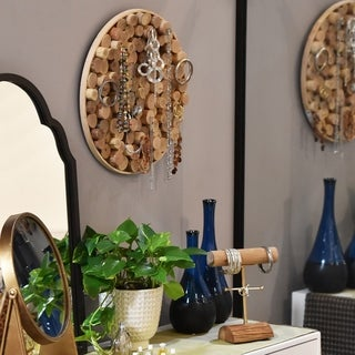 UTC37084: Wood Round Wall Jewelry Holder with Bundled Wood Design and 10 Hooks Natural Wood Finish Brown