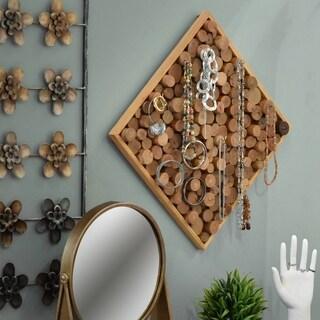 UTC37082: Wood Square Jewelry Holder with Bundled Wood Design adn 10 Hooks Natural Wood Finish Brown