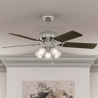 Buy hunter fan ceiling fans online at overstock our best hunter fan 52 prim brushed nickel w 5 dark walnut drift oak rev aloadofball Image collections