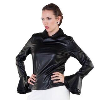 Leatherette Peplum Sleeve Top