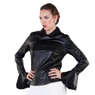 Leatherette Peplum Sleeve Top