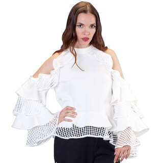 Multi Ruffle Lace Sleeve with Open Shoulder
