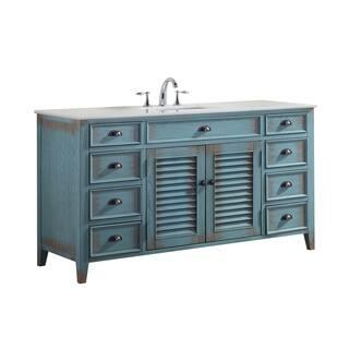 single sink bathroom vanity. Modetti Palm Beach Distressed Blue Birchwood 60 inch Single sink Bathroom  Vanity with Crystal Size Vanities Cabinets For Less