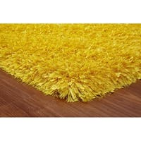 3-Inch Thick Yellow Shag Rug, 3 Handmade type Yarns, Cotton Backing - 5' x 7'
