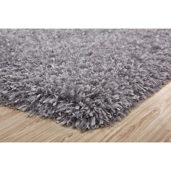 3-Inch Thick Silver Shag Rug, 3 Handmade type Yarns, Cotton Backing - 5' x 7'