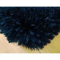 3-Inch Thick Navy Shag Rug, 3 Handmade type Yarns, Cotton Backing - 5' x 7'
