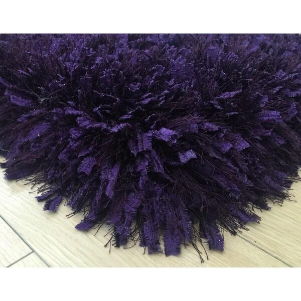 3-Inch Thick Purple Shag Rug, 3 Handmade type Yarns, Cotton Backing - 5' x 7'