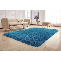 3-Inch Thick Light Blue Shag Rug 3 Handmade type Yarns, Cotton Backing - 5' x 7'