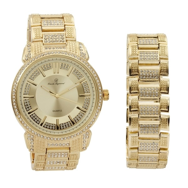 Bling Mens Hip Hop With Cl Watch And Matching Bracelet In Elegant Gift Box